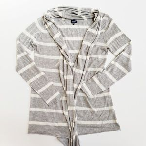 Splendid Gray White Striped Open Knitted Cardigan